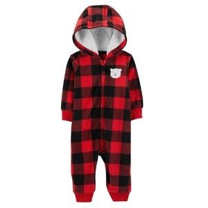 Baby Boy Plaid Hooded Coverall